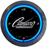 """Camaro By Chevrolet"" Black & Chrome Wall Clock - Blue Neon Light"