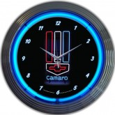 Chevrolet Camaro Black & Chrome Hanging Wall Clock - Bowtie & Blue Neon Lights