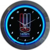 Chevrolet Camaro Black & Chrome Hanging Wall Clock - Bowtie & Blue Neon Lights