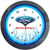 Ford Racing White & Chrome Hanging Wall Clock with Flames and Blue Neon Lights