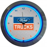 Ford Trucks Silver & Chrome Wall Clock with Blue Neon Lights