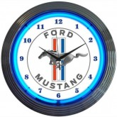 Mustang White & Chrome Wall Clock with Running Horse Logo & Blue Neon Light