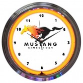 Mustang White & Chrome Wall Clock with Flaming Running Horse & Orange Neon Light