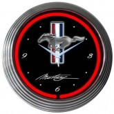 Ford Mustang Black & Chrome Hanging Clock - Running Horse Logo & Red Neon Light