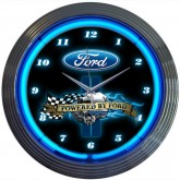 POWERED BY FORD Black & Chrome Wall Clock with Engine, Oval & Blue Neon Light