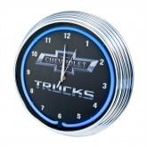 Chevrolet Chevy Trucks Bowtie Blue Illuminated Light Up Neon Clock w/ Chrome Trim