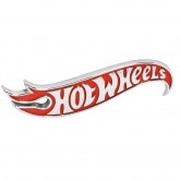 "Authentic Red & Chrome Hot Wheels Stick on Emblem 4.25"" x 1.0"""