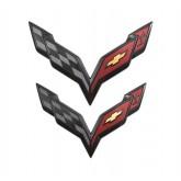 C7 Corvette Front Bumper & Rear Trunk Flags Emblems - Black Carbon Flash