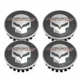 2014-2017 C7 Corvette Racing Black & Chrome Center Caps w/ Jake Skull - 4pc Set