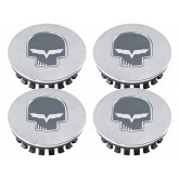 2005-2013 C6 Corvette Chrome Gray Center Caps with Jake Skull & Flags - Set of 4