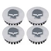 2005-2013 C6 Corvette Chrome Gray Center Caps with Jake Skull & Flags - Set of 4