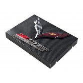 2014+ C7 Corvette Black Carbon Fiber Style Fuse Box Cover - Black Flags & Z06 Logos