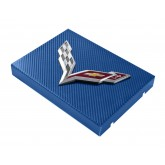 2014+ C7 Corvette Blue Carbon Fiber Style Fuse Box Cover - Chrome Flags Logo