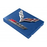 2014+ C7 Corvette Blue Carbon Fiber Style Fuse Box Cover - Chrome Flags & Z06 Logos