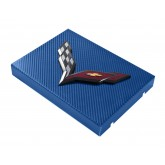 2014+ C7 Corvette Blue Carbon Fiber Style Fuse Box Cover - Black Flags Logo