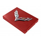 2014+ C7 Corvette Red Carbon Fiber Style Fuse Box Cover - Chrome Flags Logo