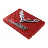 2014+ C7 Corvette Red Carbon Fiber Style Fuse Box Cover - Chrome Flags & Z06 Logos