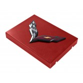 2014+ C7 Corvette Red Carbon Fiber Style Fuse Box Cover - Black Flags Logo