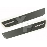 2010-2013 Corvette Black Leather Door Sill Step Plates - Grand Sport Logos