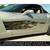 2005-2013 C6 Corvette Black Fade Flames Side Door Graphics
