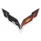 2014+ C7 Corvette OEM GM Chrome Front / Hood Crossed Flags Emblem