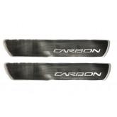 2006-2013 Z06 Carbon Silver & Black Door Sill Insert Plates Carbon Fiber Weave