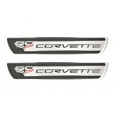 2005-13 Corvette Silver & Black 60th Anniversary Edition Door Sill Insert Plates