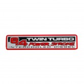 Ford 6.4 Power Stroke Twin Turbo Intercooled Diesel Red/Black/Silver Aluminum Emblem