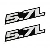 "2009-2017 Jeep Charger Challenger Ram 5.7 Liter Silver & Black 3.5"" Emblems Pair"