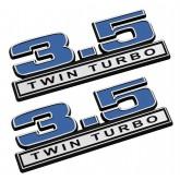 "2011-2016 Ford F-150 3.5 Twin Turbo 5"" x 1.75"" Emblems Blue w/ Chrome Trim - Pair"