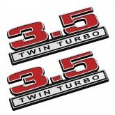 "2011-2016 Ford F-150 3.5 Twin Turbo 5"" x 1.75"" Emblems Red w/ Chrome Trim - Pair"