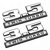 "2011-2016 Ford F-150 3.5 Twin Turbo 5"" x 1.75"" Emblems White w/ Chrome Trim - Pair"