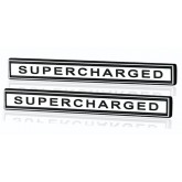 Pair of Chrome Supercharged Bar Emblems - Universal Application
