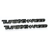Pair of Turbocharged Emblems in Chrome - Universal Application