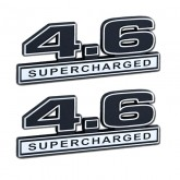 Black & Chrome 4.6 Supercharged Emblems - Pair - Universal Application