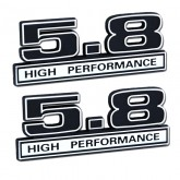 Black & Chrome 5.8 High Performance Emblems - Pair - Universal Application