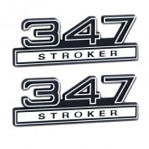 Black & Chrome 347 Stroker Emblems - Pair - Universal Fitment