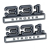 Black & Chrome 331 Stroker Emblems - Pair - Universal Fitment