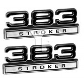 Pair of 383 Stroker Emblems Black & Chrome - Universal Application