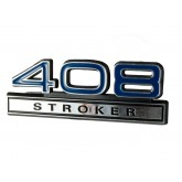 "Ford Mustang Blue & Chrome 408 Stroker 4"" Engine Size Emblem"