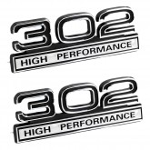 Black & Chrome 302 High Performance Emblems - Pair - Universal Fitment