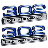 Blue & Chrome 302 High Performance Emblems - Pair - Universal Fitment
