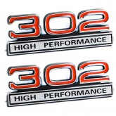 Red & Chrome 302 High Performance Emblems - Pair - Universal Fitment