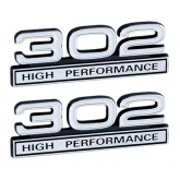 White & Chrome 302 High Performance Emblems - Pair - Universal Fitment