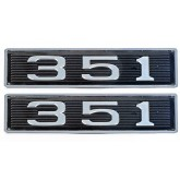 Ford 351 Windsor 5.8L Chrome Plated Hood Scoop Emblems - Pair