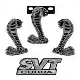 1994-2004 Ford Mustang SVT Cobra Black & Chrome Fender, Grille, & Trunk Emblems Set