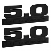 Ford Mustang Two-Tone Black 5.0 High Performance Emblems - Pair