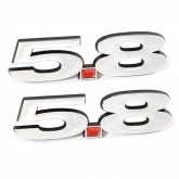 2013-2014 Mustang Shelby GT500 Chrome 5.8 Emblems - Pair