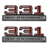 Chrome, Black & Red 331 High Performance Fender Emblems - Universal Fitment