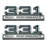 Chrome, Black & Blue 331 High Performance Fender Emblems - Universal Fitment